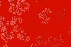 Piccoli fiori di corallo su fondo rosso Reticolo astratto fotografie stock