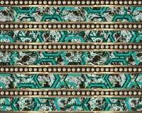 Piccoli fiori e rombi e strisce dell'oro con i diamanti Fondo verde illustrazione vettoriale