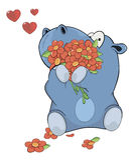 Piccoli ippopotamo e fiori fumetto Fotografie Stock Libere da Diritti