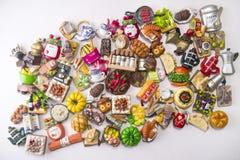 Piccoli magneti dell'alimento Fotografie Stock Libere da Diritti