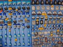 Piccoli magneti di tema religiosi del frigorifero Fotografia Stock Libera da Diritti