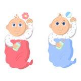 Piccoli neonato e neonata Vettore Immagine Stock Libera da Diritti