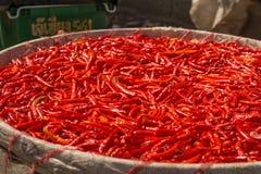 Piccoli, peperoncini rossi e molto piccanti su un mercato asiatico Immagine Stock