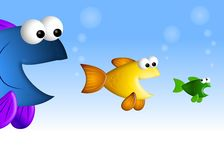 Piccoli pesci dei grandi pesci Fotografia Stock