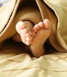 Piccoli piedi del bambino sotto una coperta calda Fotografie Stock