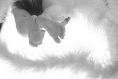 Piccoli piedi del bambino su vetro Fotografia Stock