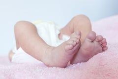 Piccoli piedi di un appena nato fotografia stock