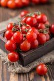 Piccoli pomodori ciliegia rossi su fondo rustico Pomodori di ciliegia sulla vite Immagine Stock