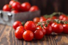 Piccoli pomodori ciliegia rossi su fondo rustico Pomodori di ciliegia sulla vite Fotografia Stock