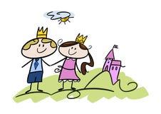 Piccoli principe e principessa felici Immagine Stock