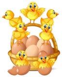 Piccoli pulcini e merce nel carrello delle uova illustrazione vettoriale