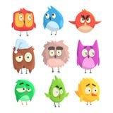 Piccoli pulcini svegli dell'uccello messi dei personaggi dei cartoni animati nelle forme geometriche, animali svegli stilizzati d Immagini Stock
