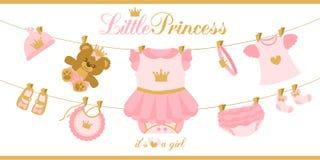 Piccoli vestiti di principessa che appendono sulla linea Illustrazione per la carta dell'invito della doccia di bambino Fotografia Stock