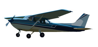 Piccolo aeroplano illustrato su bianco Fotografie Stock Libere da Diritti