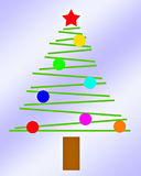 Piccolo albero di Natale semplice con priorità bassa blu-chiaro Immagini Stock Libere da Diritti