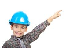 Piccolo architetto che indica in su fotografia stock