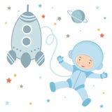 Piccolo astronauta sveglio nello spazio cosmico illustrazione vettoriale