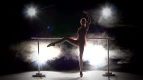 Piccolo ballerino della ballerina vicino alla sbarra Fumo stock footage