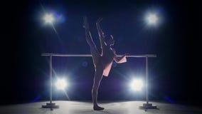 Piccolo ballerino della ballerina vicino alla sbarra Fumo archivi video