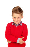 Piccolo bambino arrabbiato con il jersey rosso Fotografie Stock Libere da Diritti