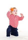Piccolo bambino con la sfera Fotografia Stock Libera da Diritti