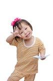 Piccolo bambino con soldi Fotografia Stock