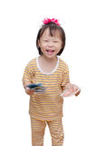 Piccolo bambino con soldi Fotografie Stock