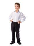Piccolo bambino in età prescolare felice in uniforme Fotografia Stock