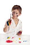 Piccolo bambino, pittura dissipante. Fotografia Stock