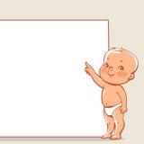 Piccolo bambino vicino all'insegna Fotografia Stock