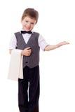 Piccolo cameriere con il tovagliolo Fotografia Stock Libera da Diritti
