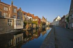 Piccolo canale a Bruges Fotografia Stock