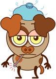 Piccolo cane marrone che si sente male triste e illustrazione vettoriale
