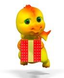 Piccolo carattere divertente del drago che tiene la rappresentazione rossa del regalo 3d Immagine Stock Libera da Diritti