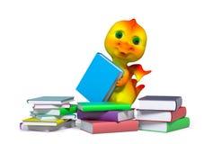 Piccolo carattere divertente del drago con la rappresentazione dei libri 3d Fotografie Stock