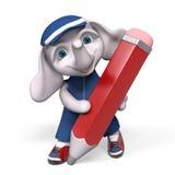 Piccolo carattere divertente dell'elefante con la grande rappresentazione rossa della matita 3d Immagini Stock Libere da Diritti