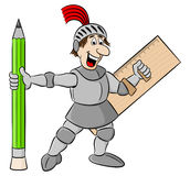 Piccolo cavaliere armato con la matita ed il righello illustrazione vettoriale