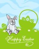 Piccolo coniglietto di pasqua grigio sveglio Fotografia Stock Libera da Diritti