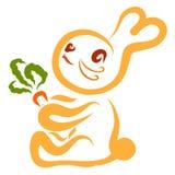 Piccolo coniglietto sveglio con le carote in zampe royalty illustrazione gratis