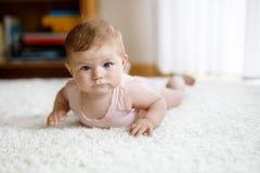 Piccolo corpo portante divertente della neonata ed imparare strisciare fotografia stock libera da diritti