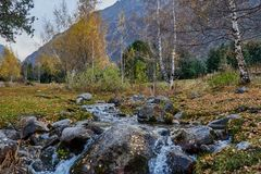 Piccolo corrente al piede delle montagne fotografia stock libera da diritti