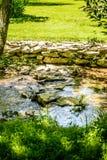Piccolo corso d'acqua allineato con la pietra e l'erba Fotografie Stock Libere da Diritti
