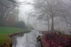 Piccolo corso d'acqua un giorno di inverni nebbioso freddo Fotografie Stock