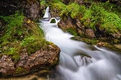 Piccolo corso d'acqua in Val di Fassa immagini stock