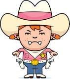 Piccolo cowgirl arrabbiato illustrazione vettoriale