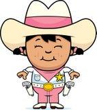 Piccolo cowgirl sorridente illustrazione vettoriale