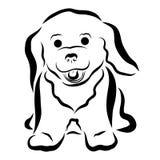 Piccolo cucciolo lanuginoso allegro, dipinto nelle linee ondulate nere illustrazione vettoriale