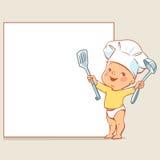 Piccolo cuoco unico del bambino all'insegna Immagine Stock Libera da Diritti