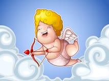 Piccolo Cupido divertente nelle nuvole Immagine Stock
