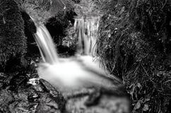 Piccolo dettaglio della cascata in bianco e nero Immagini Stock